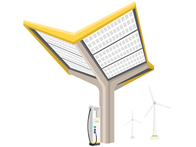 petrol station with solar